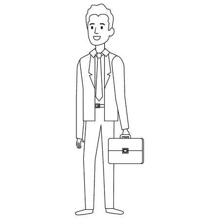 businessman with portfolio avatar character vector illustration design