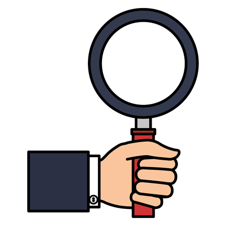 hand human with magnifying glass isolated icon vector illustration design 矢量图像