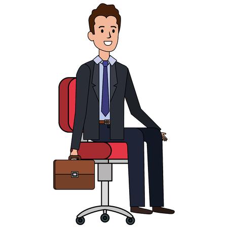 businessman sitting in office chair vector illustration design Archivio Fotografico - 99670783