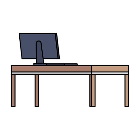 desktop computer in desk wooden vector illustration design