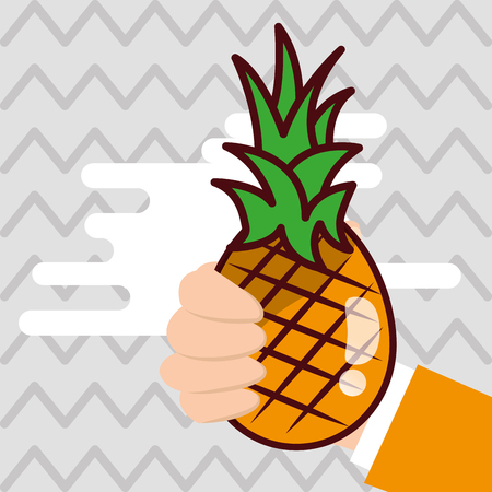 Hand holding pineapple fresh colored background vector illustration