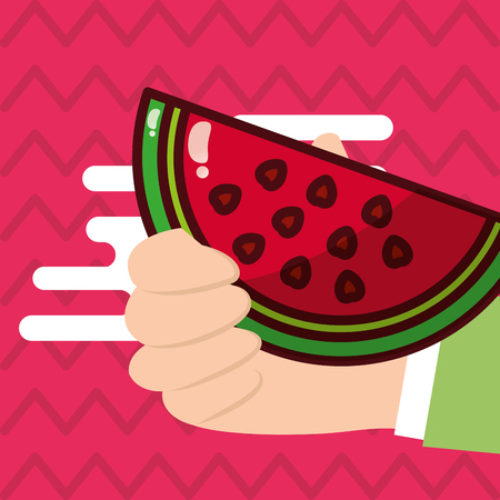 Hand holding watermelon fresh colored background vector illustration