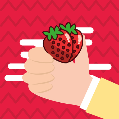 Hand holding strawberry fresh colored background vector illustration