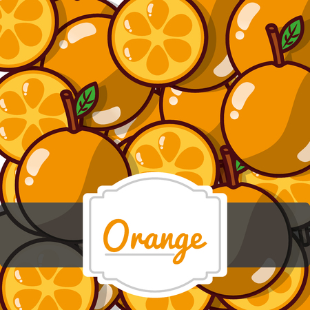 Delicious orange fresh fruit label pattern vector illustration