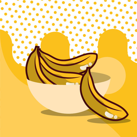 banana in bowl harvest fruit tasty dotted background color vector illustration