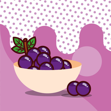 grapes in bowl harvest fruit tasty dotted background color vector illustration