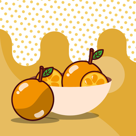 orange in bowl harvest fruit tasty dotted background color vector illustration