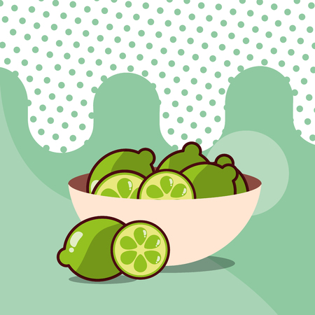 lemons in bowl harvest fruit tasty dotted background color vector illustration