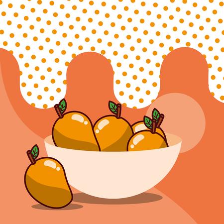 mango in bowl harvest fruit tasty dotted background color vector illustration