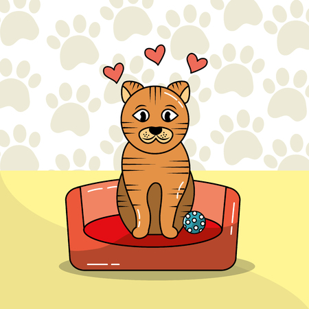 cute cat sit on bed pet with ball and paws background vector illustration