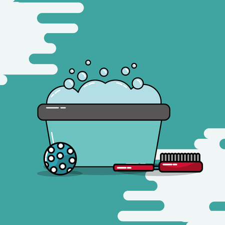 bucket wash foam bathing ball and brush vector illustration