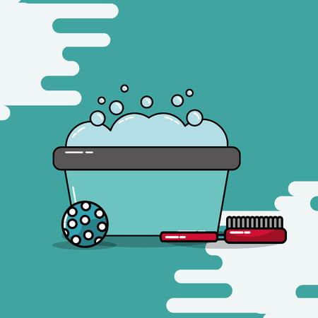 bucket wash foam bathing ball and brush vector illustration