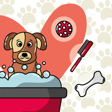 dog washing in bath pet grooming and care vector illustration Stock Illustratie