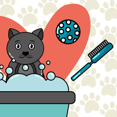Pet cat washing in the bath with bubbles ball and brush vector illustration.
