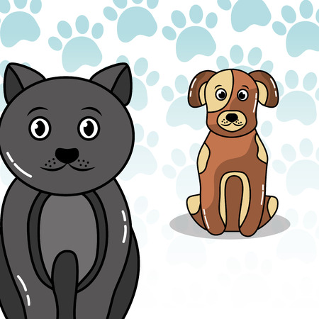 Cat and dog friends cute cartoon paws decoration vector illustration Illustration