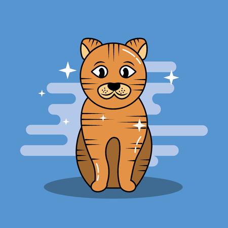 Adorable sitting yellow cat pet vector illustration. Иллюстрация