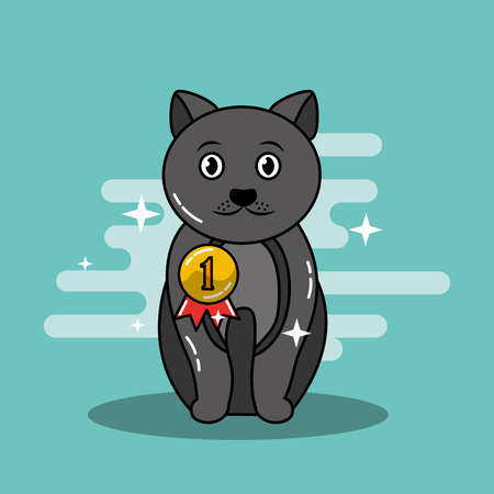 Adorable sitting gray cat pet with medal champion vector illustration