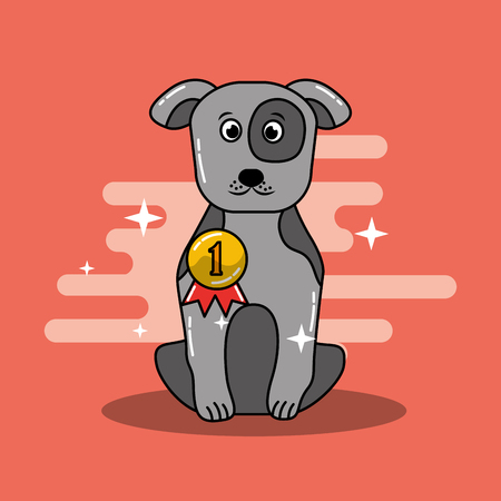 Cartoon dog champion winning gold medal vector illustration.