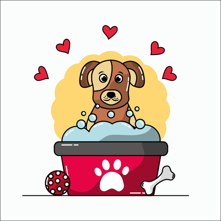 Cute dog mascot having a bath with bubbles ball bone and hearts love vector illustration