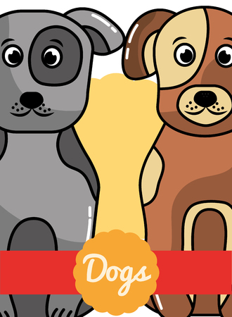 Cute gray and brown animal dogs poster vector illustration. Illustration