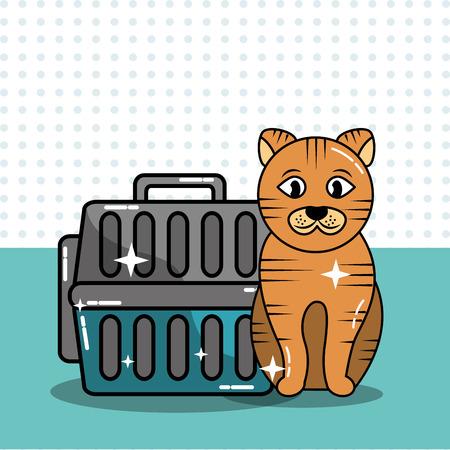 Pet cat transport carrying case travel vector illustration