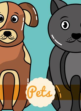Dog and cat mammals domestic friends card vector illustration.
