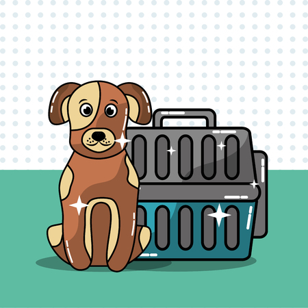 Dog pet travel carrier domestic animal vector illustration.