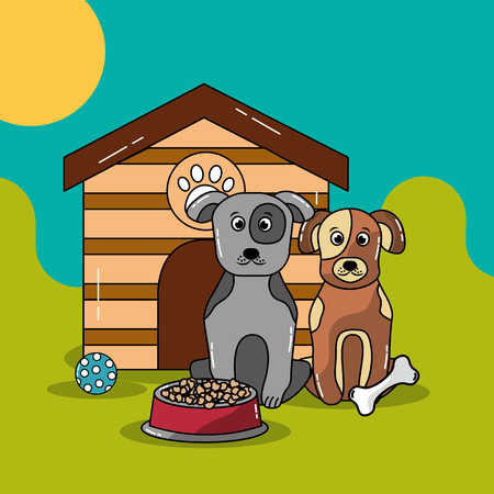 Pet dogs and cat sitting near wooden house with food bowl and toys vector illustration.