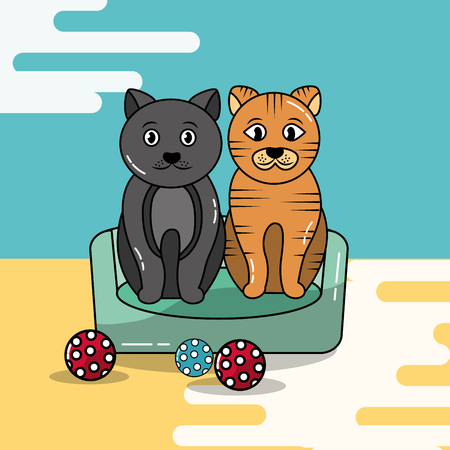 Cute cats sitting in bed pet with balls toy vector illustration. Illustration