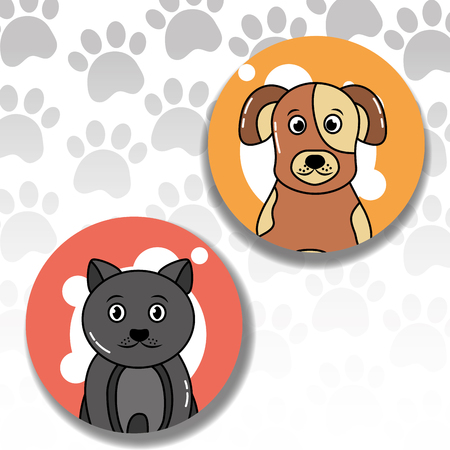 Pets dog and cat animal friend adorable paws background vector illustration