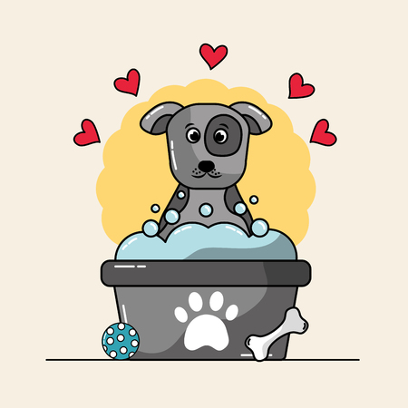 Cute dog mascot having a bath with bubbles ball bone and hearts love vector illustration.