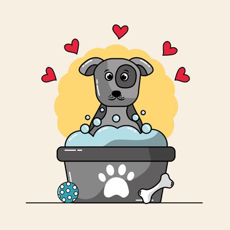 Cute dog mascot having a bath with bubbles ball bone and hearts love vector illustration.