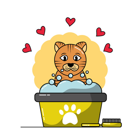 Cute cat in a tub taking a bubble bath ball brush and hearts love vector illustration.