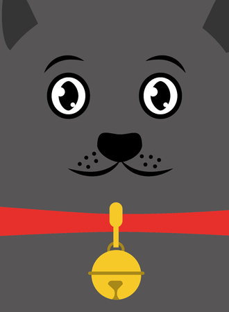 cat pet face with collar and bell card vector illustration Illustration