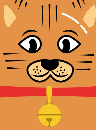 cat pet face with collar and bell card vector illustration Vectores
