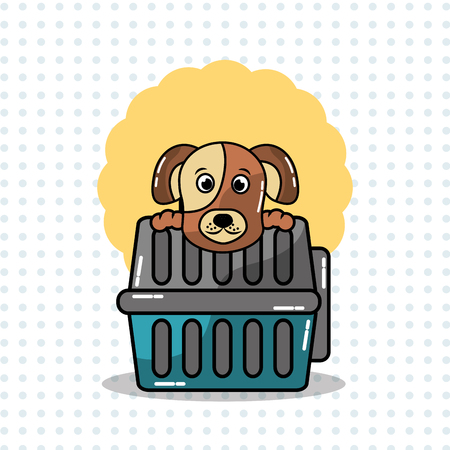 Cute dog and carrying animal pet vector illustration. Çizim