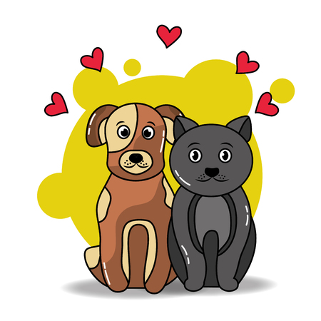 pet cat and dog sitting, love friends vector illustration