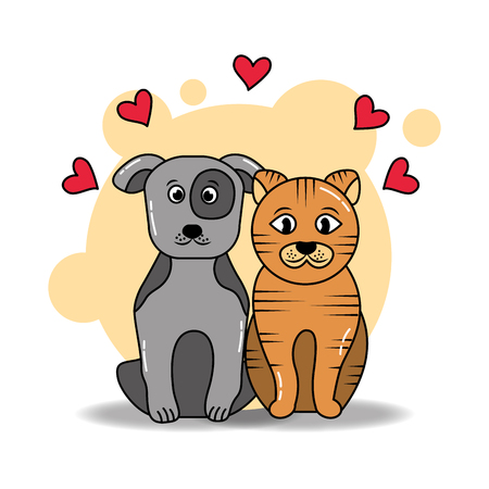 Dog and cat sitting animals love friends vector illustration.