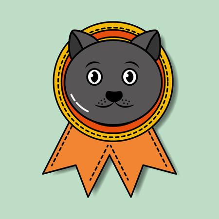 Pet cat winner medal ribbon award vector illustration.