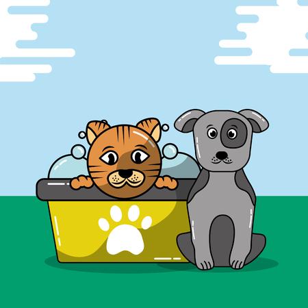 Haustier Katze und Hund pflegen Badewanne Shampoo Vektor-Illustration Standard-Bild - 99729633