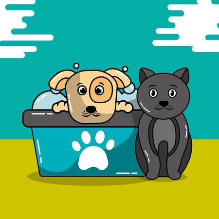 Haustier Katze und Hund pflegen Badewanne Shampoo Vektor-Illustration Standard-Bild - 99729634