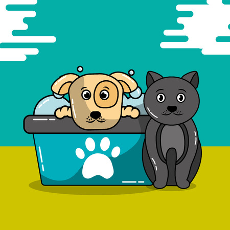 Pet cat and dog grooming bathtub shampoo vector illustration Иллюстрация