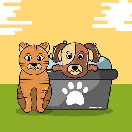 Dog and cat grooming bathtub shampoo vector illustration.