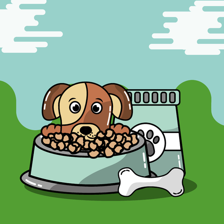 Pet animal dog with bag food and bowl bone vector illustration.