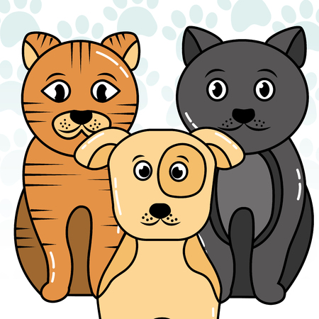 Dog and cats vector illustration. Illustration