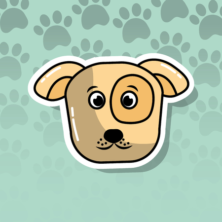 pet dog animal head cartoon with paws print background vector illustration Banque d'images - 99771362