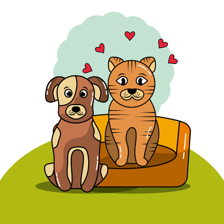 Dog and cat with bed cushion vector illustration.