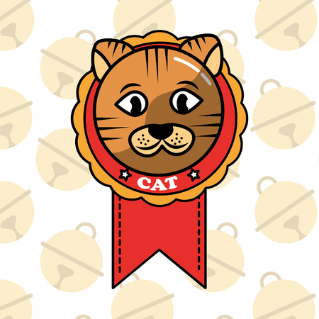 dorable cat in medal cartoon domestic animal vector illustration Çizim