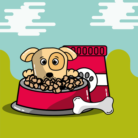 pet animal dog with bag food and bowl bone vector illustration