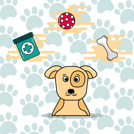 Cute spotted dog pet toy bone and medicine vector illustration. 스톡 콘텐츠 - 99742265